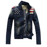 Hip hop punk denim jacket American flag motorcycle jeans short jacket Men Tide Brand Slim College coat chaqueta hombre