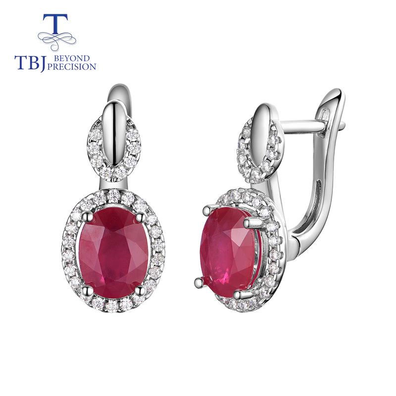 TBJ Classic design africa ruby clasp earring natural precious gemstone 925 sterling silver jewelry for women