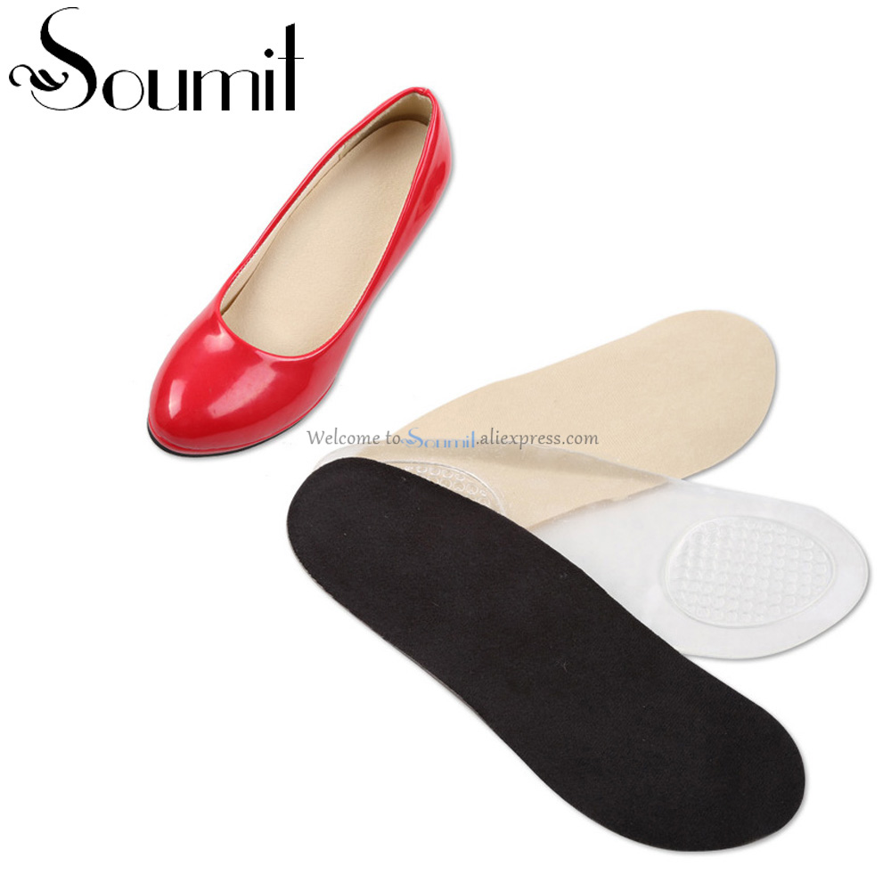 Soumi Gel 3/4 Lady Insole With Arch Support Cushion Orthotic Washable Thickened Insert High Heel Shoe Pad Feet Care Relieve Pain orthotic insoles flat foot arch pad feet care relieve pain 3 4 length heel pad pu arch support insole orthopedics soles insert