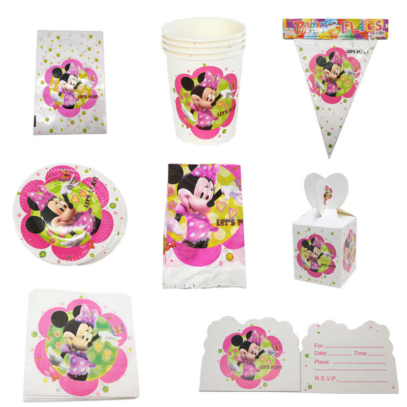Minnie Theme Party Disposable Supplies, including Top Hat, Tear Bag, Banner, Paper Plate / Whistle Wedding Birthday Decorations