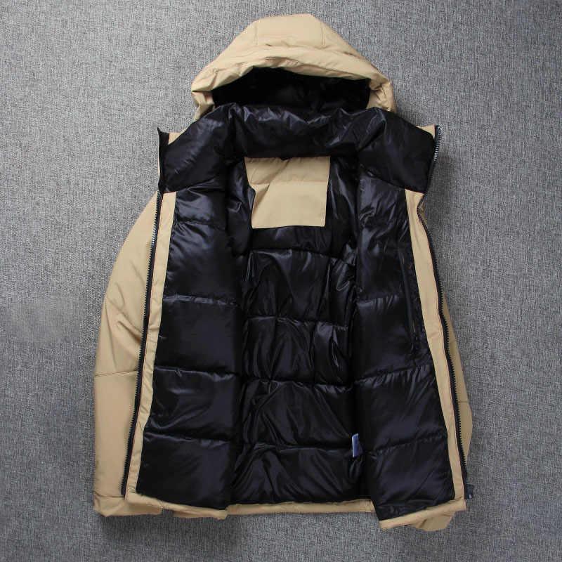 Chaqueta de plumón de pato blanco de invierno 2018 para hombre Chaqueta corta con capucha cuello abajo abrigo grueso de alta calidad abrigo