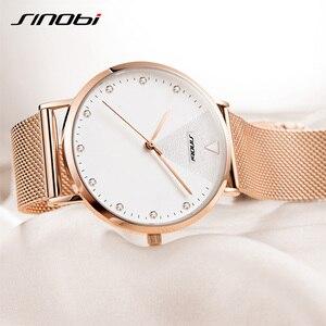 Image 2 - SINOBI basit kadın bilek saatler altın kordonlu saat takvim en lüks marka kristal kuvars saat bayanlar kol saati reloj mujer