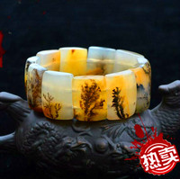 Natural Huang Long jade Water grass Original stone Hand row hand strings stone Lucky Stretch Elastic Bracelet Fashion Jewelry