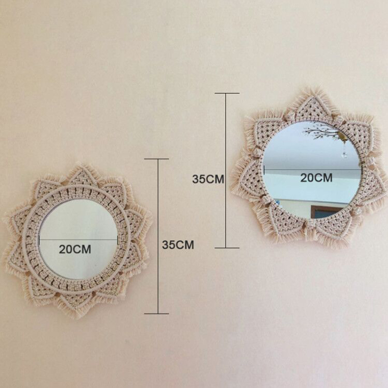 Image 4 - Macrame Tapestry Wall Hanging  Decorative Mirror  Bohemia Creative Home Art Wall Decorations Boho Decor Home-in Tapestry from Home & Garden