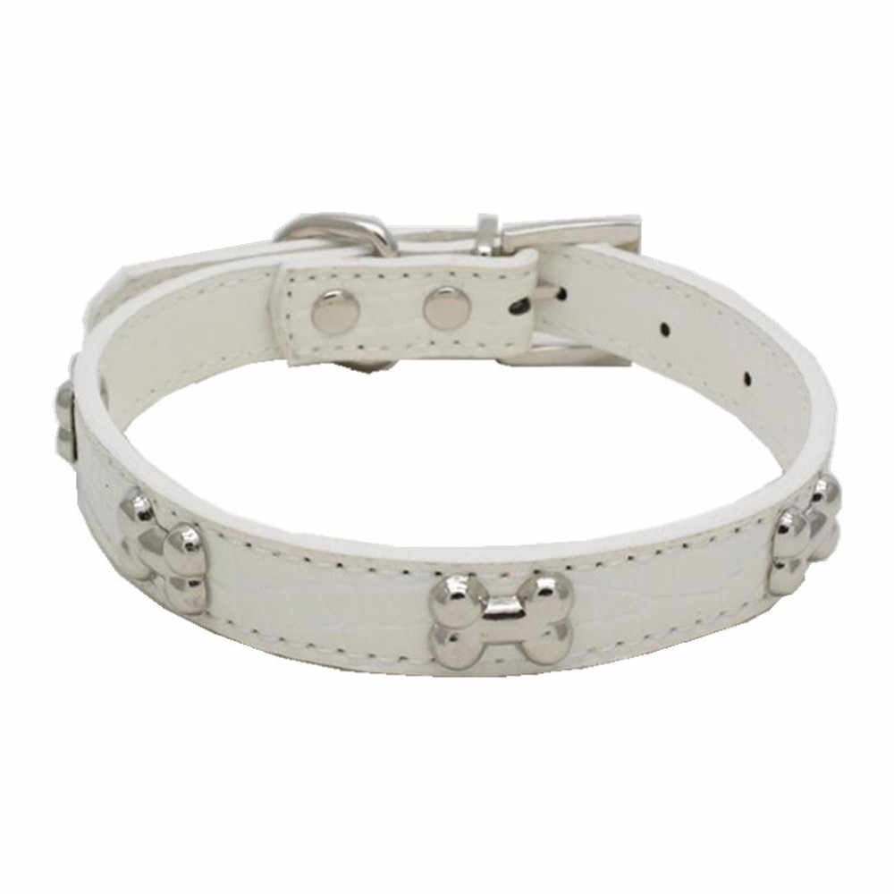 Transer Dog Collar Exquisite Adjustable Rhinestone Buckle Metal Bone Unisex Dogs Puppy Pet Collars 19Jan10 P40