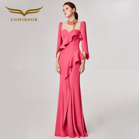 CONIEFOX 32582 pink hanging neck Fashion sexy mermaid Ladies Retro elegance Appliques prom dresses party evening dress gown long
