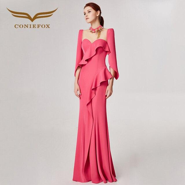 Coniefox 32582 розовый висит шеи модные пикантные Русалка Дамы ретро элегантность аппликации платья для выпускного вечера Вечерние вечернее платье длинное