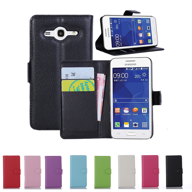 Luxury Retro Leather <font><b>Case</b></font> For <font><b>Samsung</b></font> Galaxy Core 2 <font><b>SM</b></font> <font><b>G355H</b></font> <font><b>SM</b></font>-<font><b>G355H</b></font> Core2 G355 Flip Cover <font><b>Case</b></font> With Card Holder Stand Duos image