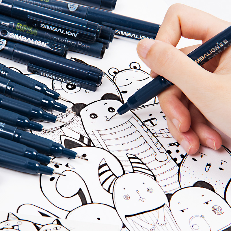 LifeMaster Simbalion Drawing Pen Black Fineliner Manga Architecture Design Pigment Ink Water-proof Sketch Art Supplies DP-54 image
