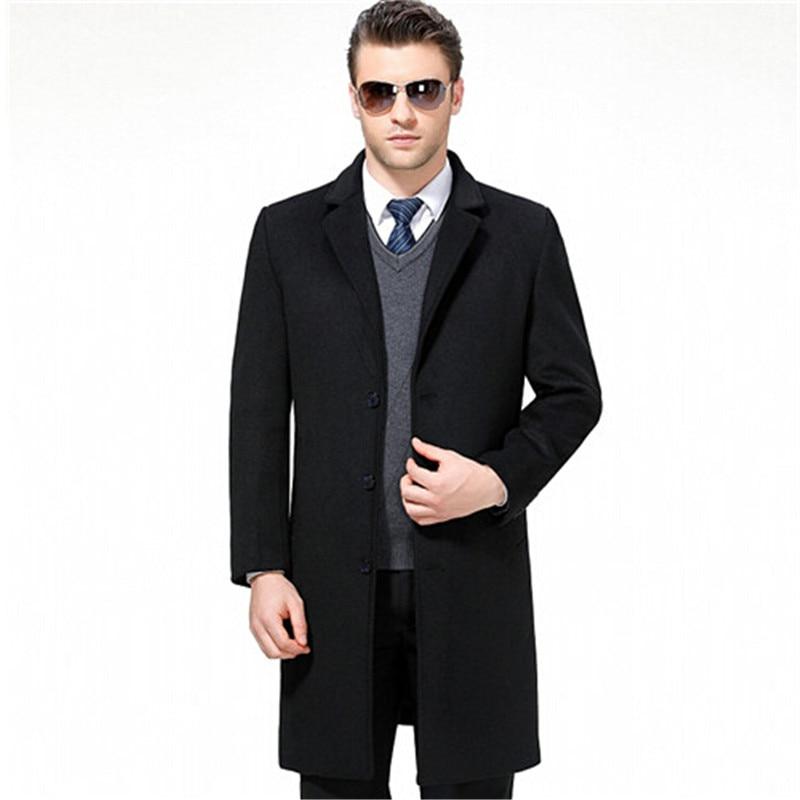 2018 Lange Jacken & Mäntel Einreiher Casual Herren Wollmischung Jacken Voll Winter Für Männlichen Wollmantel 3xl Gutes Renommee Auf Der Ganzen Welt
