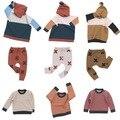 Chrismas 2016 kikikids nununu ropa niños conjuntos niños ropa de bebé niños niñas suéter a cuadros pantalones bobo choses