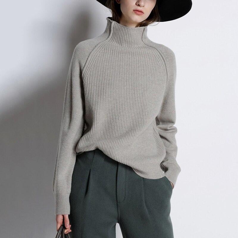 Mode automne hiver chandails tricotés pour les femmes demi col roulé à manches longues mince épais chaud pulls pulls mode marée