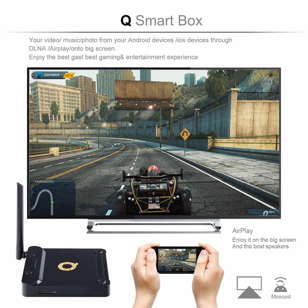 ФОТО Big Q Letter On Set Top Box Amlogic S912 Octa Core ARM Cortex A53 64 Bit 2GHz Digital Audio Output With 3dB Extenal Atenna