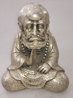 Chinese hand carved white copper sculpture Dharma
