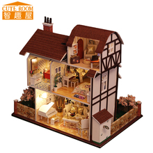 DIY Wooden House Miniaturas with Furniture DIY Miniature House Dollhouse Toys for Children Christmas and Birthday Gift K13