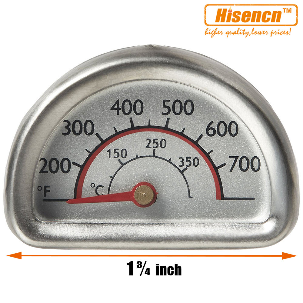 Hisencn 01T16 00473 Stainless Steel Heat Indicator Thermometer Temp Gauge Replacement for Charbroil, Kenmore Gas Grill Models