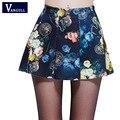 Vangull 2017 primavera verano mujeres de la impresión digital faldas elástico evasé plisado mini falda corta de la muchacha