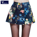 Vangull 2017 spring summer Women Digital Print Skirts Stretchy Flared Pleated Mini Skirt girl's short