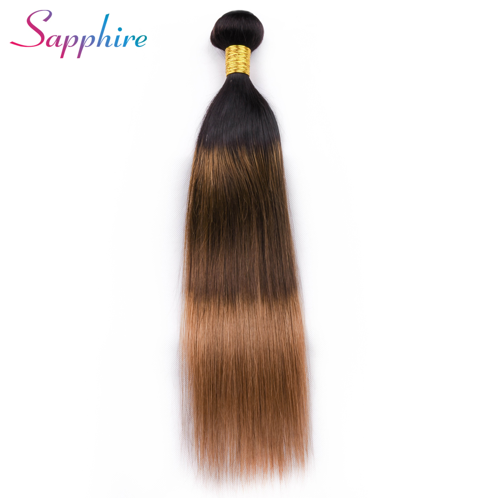 Sapphire Brazilian Straight Hair Weave 1 Piece Ombre TB/4#/30# Dark Root Remy Hair Free Shipping 100% Remy Hair Weave Bundles