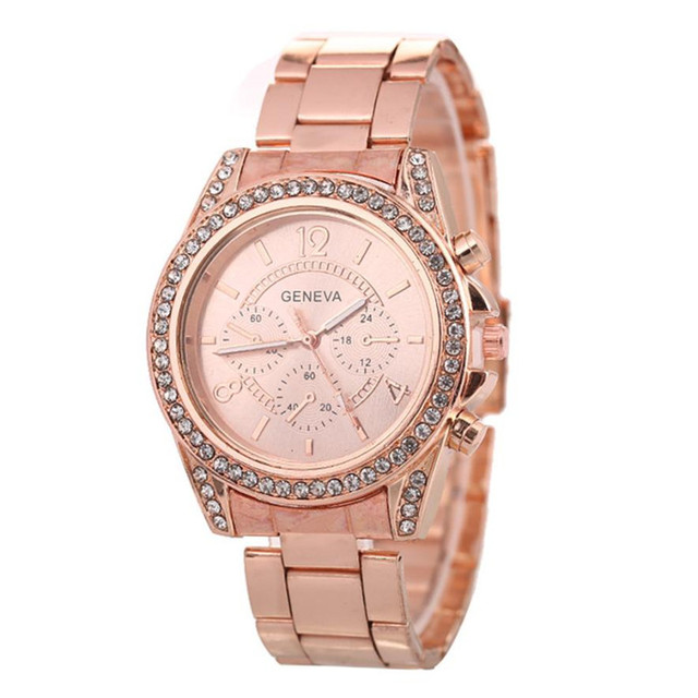 1PCS Watch Women Girl Unisex Stainless Steel Quartz Wrist Watch Geneva Ladies Pu