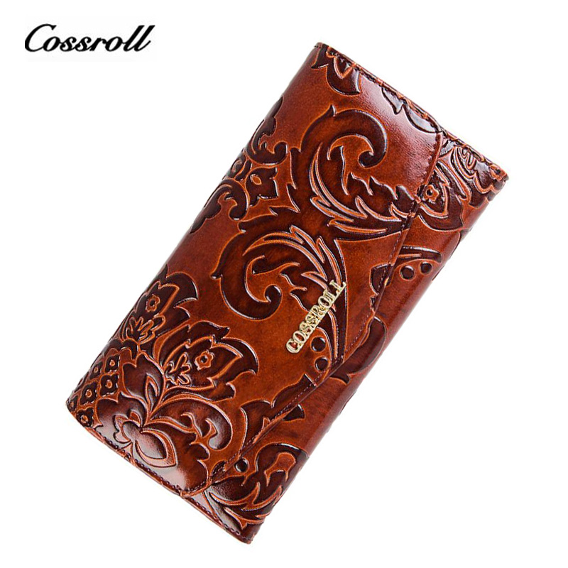 COSSROLL Flower Embossing Women Wallets and Purses Trifold Hasp Wallet Female Long Design Clutch Women's Purse Monedero Mujer  cossroll flower embossing women wallets and purses trifold hasp wallet female long design clutch women s purse monedero mujer
