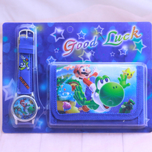Super Mario kids Sets watch and wallet purse wrist quartz Ch