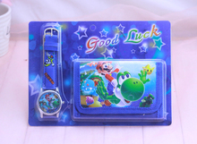 Super Mario kids Sets watch and font b wallet b font font b purse b font