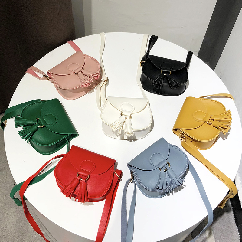 New Lady's Bag Single Shoulder Pocket Purse Inclined Tassels Fashionable Pure Color PU Bag Bags For Kids Girl  Girl Purse