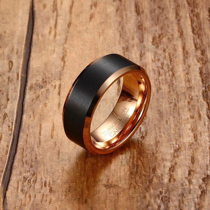 Fashion Mens Black Tungsten Carbide Ring With Rose Gold Color Male Ring 8mm W