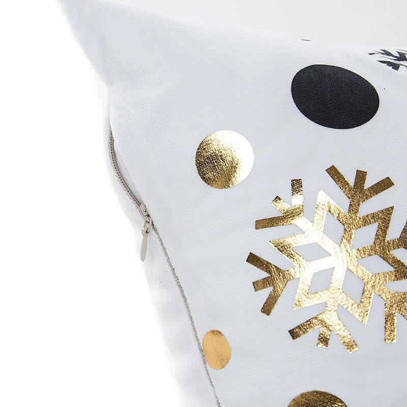 MIHE Merry Christmas Cushion Cover Gold Linen Cotton Soft Cute Throw Pillow Cover Decorative Sofa Pillow Case Pillowcase BZT18 in Cushion Cover from Home Garden