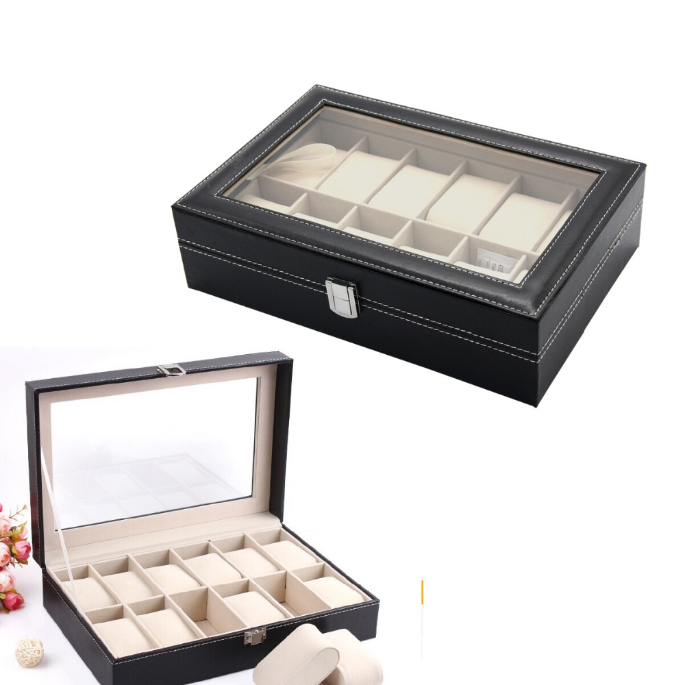 Useful 12 Slot Leather Watch Storage Case Box Display Jewelry Organizer  Holder