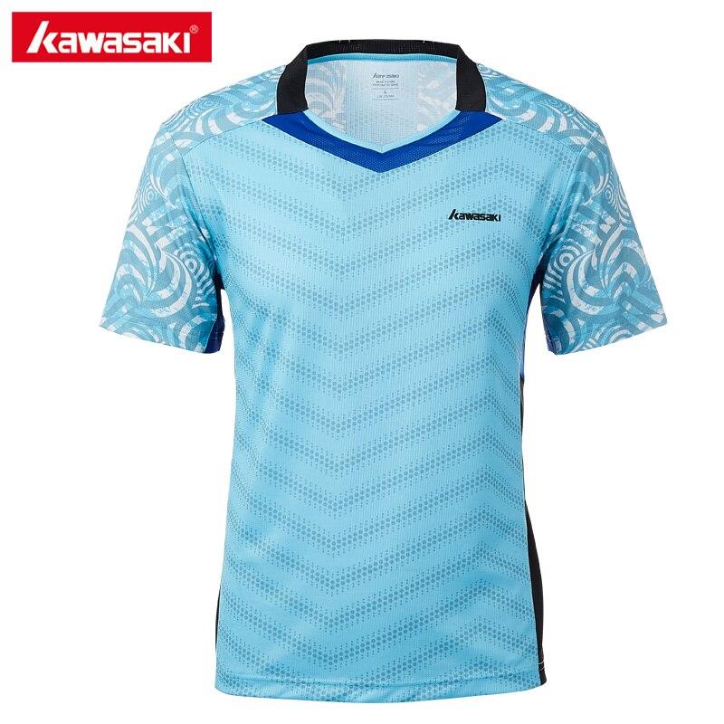 Подлинная Kawasaki одежда 2018 Для мужчин спортивная ST-T1020 Футболки для бадминтона v-образным вырезом короткий рукав дышащие теннисные футболки д...