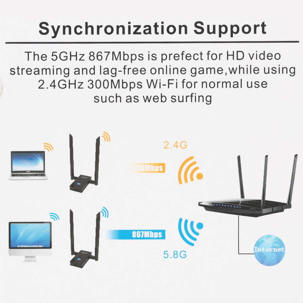 USB 3,0 adaptador Wifi inalámbrico de banda Dual 2,4 GHz/5 GHz 1200Mbps 802.11AC IEEE 802,11/b/n/g/ac con antenas + Cable extendido
