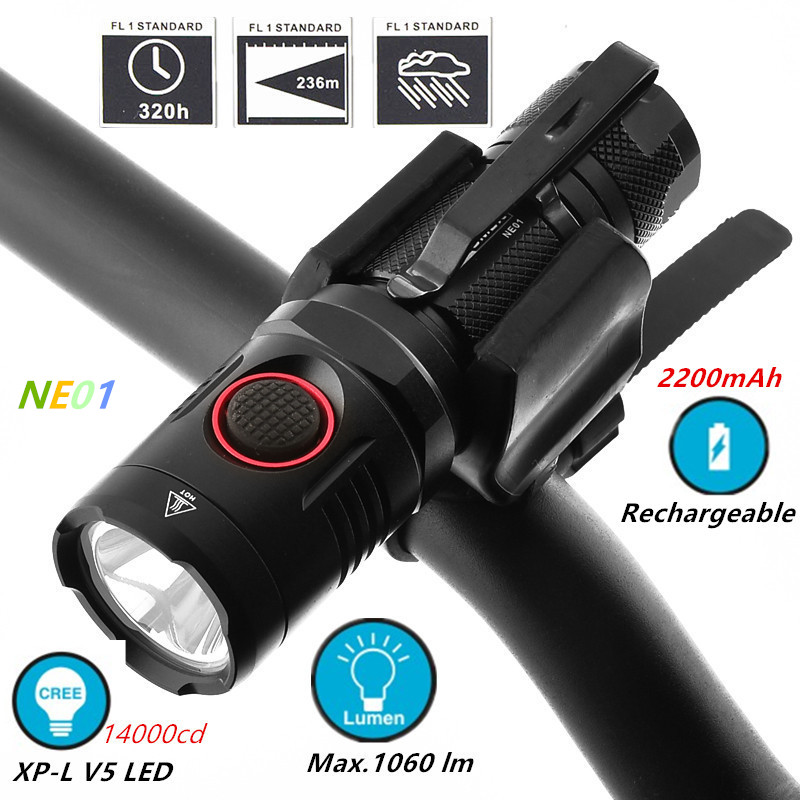NITENUMEN 1060 lumen USB Rechargeable Bike Front Light XP L V5 Mini LED Flashlight 5 Modes