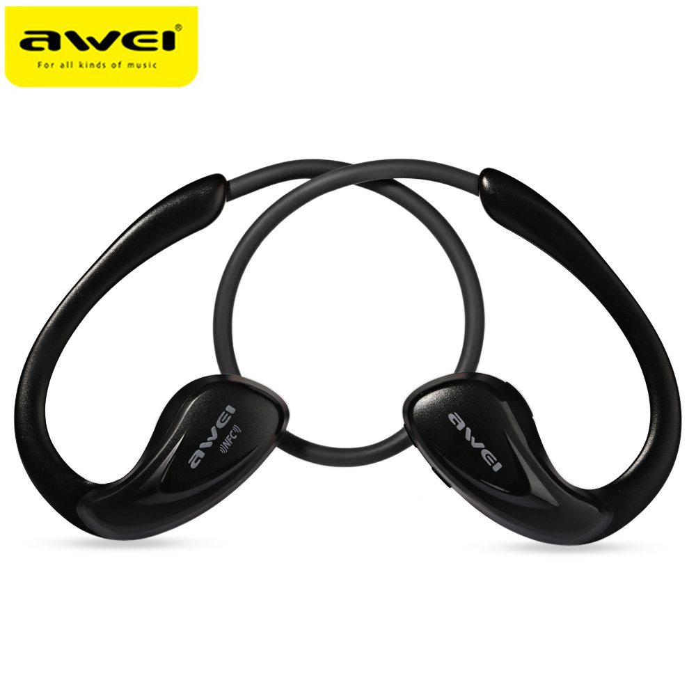 Awei A880BL Wireless Bluetooth Earphones APT-X HiFi CVC Intelligent Noise Reduction Sports Headphones With Mic NFC For Phone original awei es q3 headset noise isolation bests sound in ear style hifi earphones for phone mp3 mp4 players 3 5mm jack