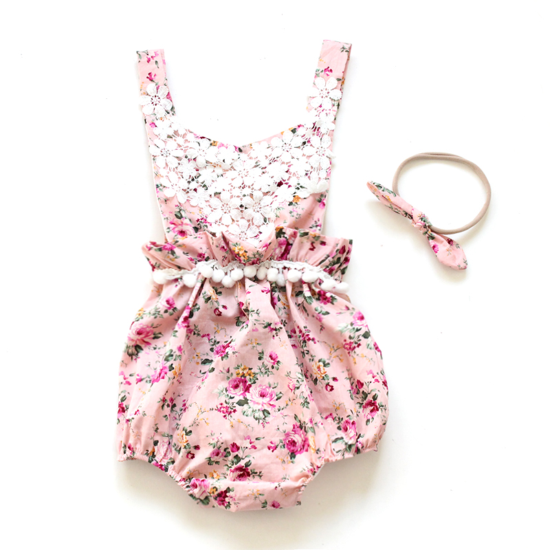 2017 Direct Selling New Belt Söt Baby Rompers Sommar Ruffled Flower Girl Kostymer Set Kids Jumpsuit Bomull Romper Foto Rekvisita