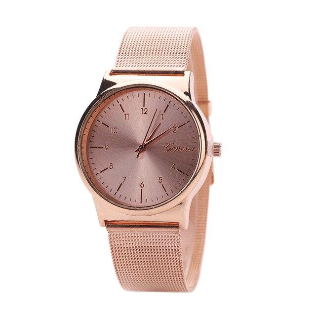 Dress Watches Women Ladies Gold&Rose Gold Stainless Steel Mesh Band Saat Buckle Quartz Wrist Watch Bracelet Reloj Mujer Gifts