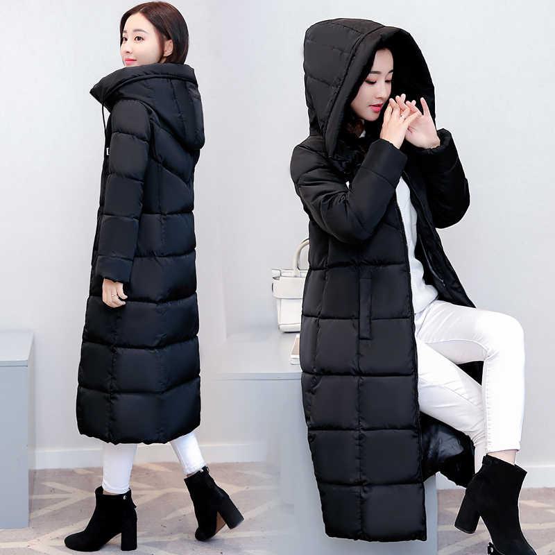 2019 модное пальто куртка женская с капюшоном утолщенная теплая парка Женская свободная хлопковая парка пальто Высокое качество женский длинный пуховик