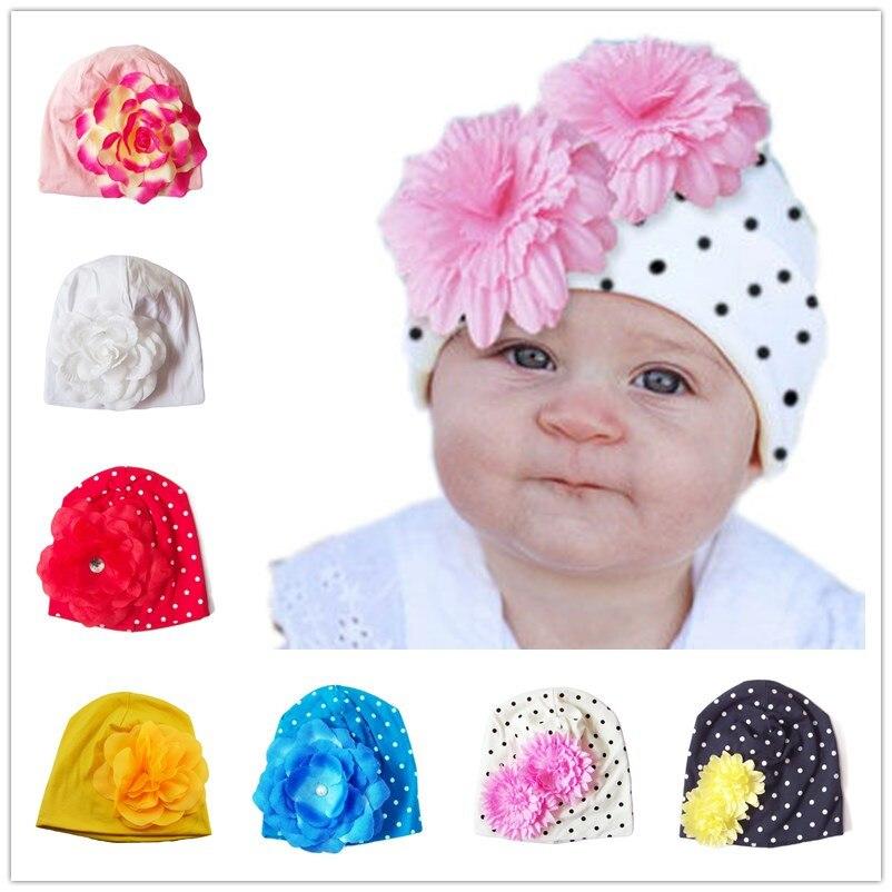 Bnaturalwell Toddler Beanie Baby Piger Perfekt Blomst Bomuld Beanie Børnehue Fashion Nyfødte Beanies Foto Flere Farver 1pc H361