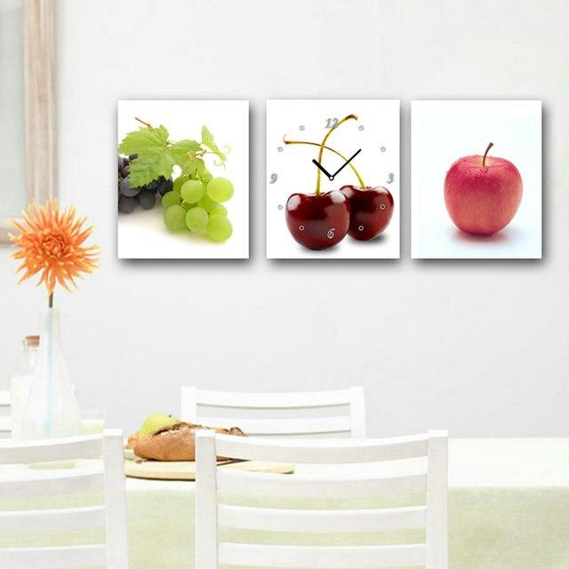 3 pz still life divertente frutta apple cherry uva tela stampe per la decorazione domestica moderna