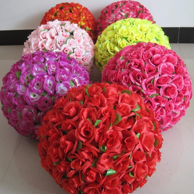 Online shop direct sale 1230cm dense rose kissing balls 1230cm dense rose kissing balls pomanders silk flower ball centerpieces weddings artificial yellow ball decor mightylinksfo