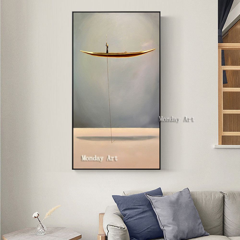 New Style Hand painted Golden Boat painting handmade Natural Landscape Canvas oil Painting Wall Picture For Living Room bedroom in Painting Calligraphy from Home Garden