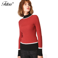 Fetoo Knitted Sweaters 2017 Autumn Winter Women Patchwork Turtleneck Long Sleeve Pullover Sweater High Elastic Tops