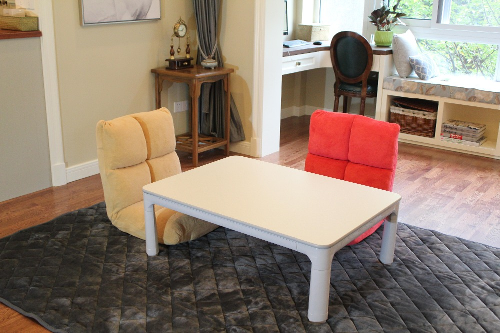 Kotatsu Japanese Table Top Reversible White/Gray Rectangle 105cm Foldable  Legs Kotatsu Foot Warmer Heated Floor Low Coffee Table
