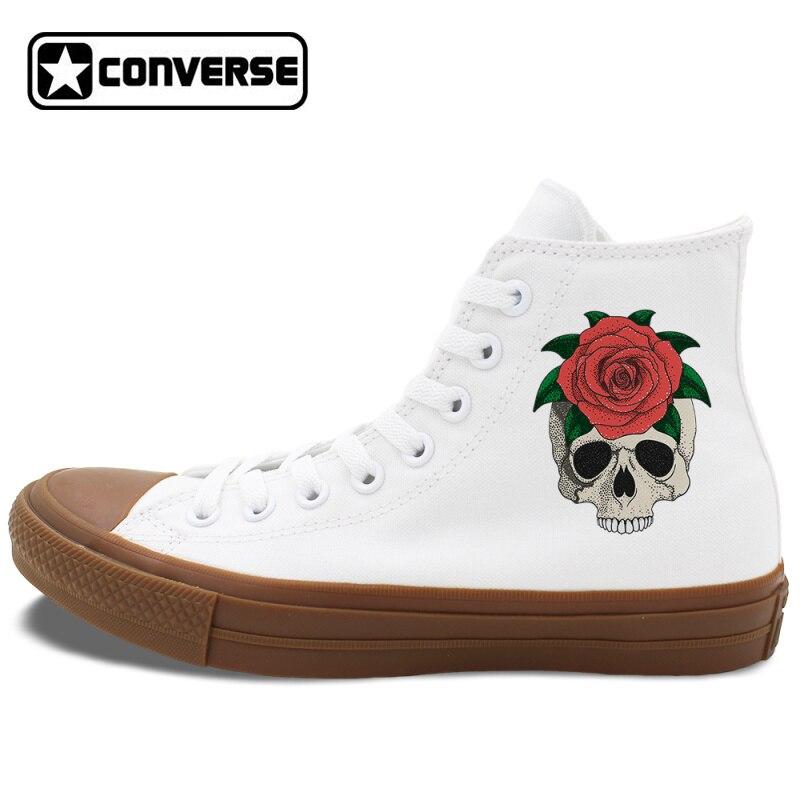 Prix pour Conception originale Crâne Rouge Rose Chaussures Converse Chuck Taylor II Hommes Femmes Cadeaux Blanc Noir Toile Sneakers