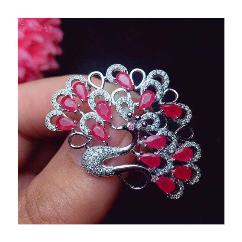 Broches de rubis de paon naturel pour la fête féminine saint valentin cadeaux goutte d'eau véritable pierre gemme fine bijoux 925 argent Sterling 329 - 5