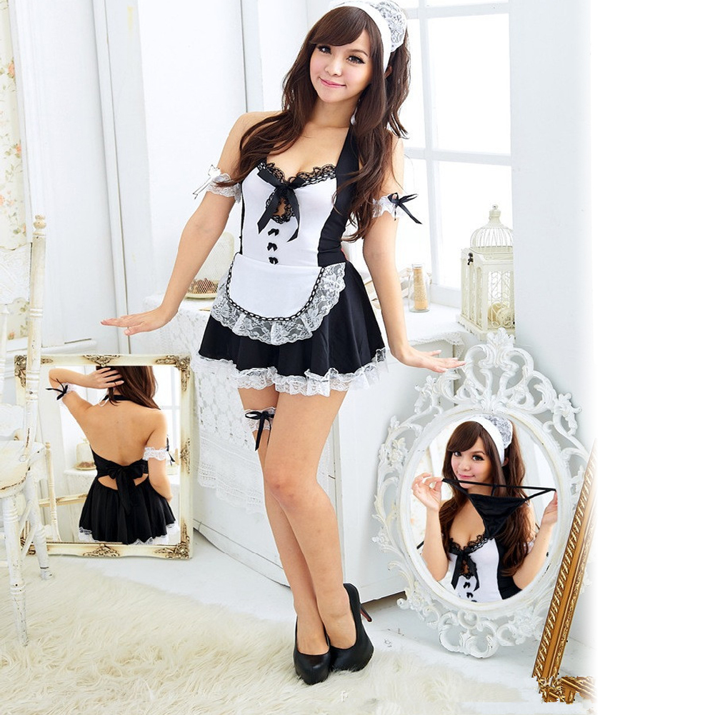 Sexy Lingerie Hot Waitress Erotic Uniform Lingerie Sexy Deep V-Neck Maid Cosplay Costume Set Sexy Women Babydoll LB