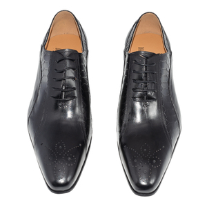 Image 3 - men dress wedding shoes Classic black coffee color luxury brand office formal pointed toe solid oxford Genuine leather mens shoe
