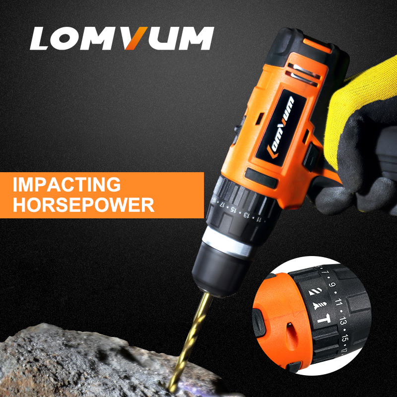 LOMVUM NEW 16V Impact Cordless Electric Drill  double speed handheld screwdriver electric tool lithiumion battery 1980w variable speed electric hammer drill with 33pcs accessories electric household tool drilling impact drill screwdriver