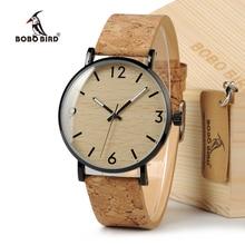 ボボ鳥女性のデザインブランドの高級木製竹腕時計レディース時計本物の革クォーツ腕時計ギフトボックス